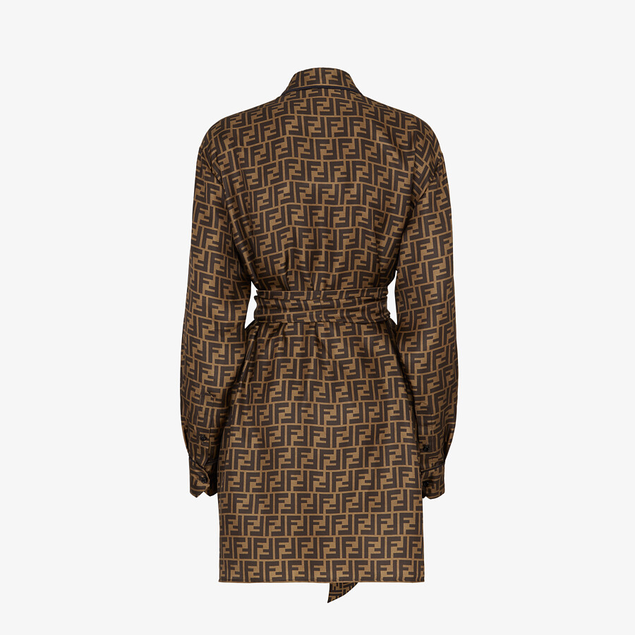 FENDI DRESS - Brown twill dress - view 2 detail