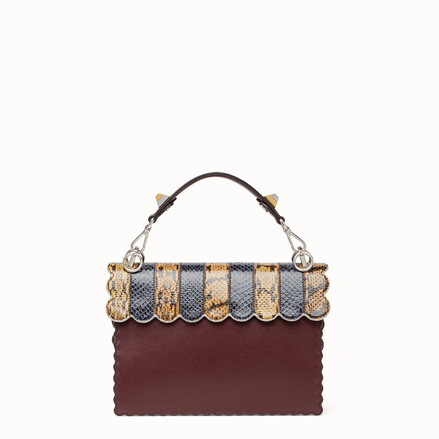 FENDI KAN I - Burgundy leather and python handbag - view 3 detail