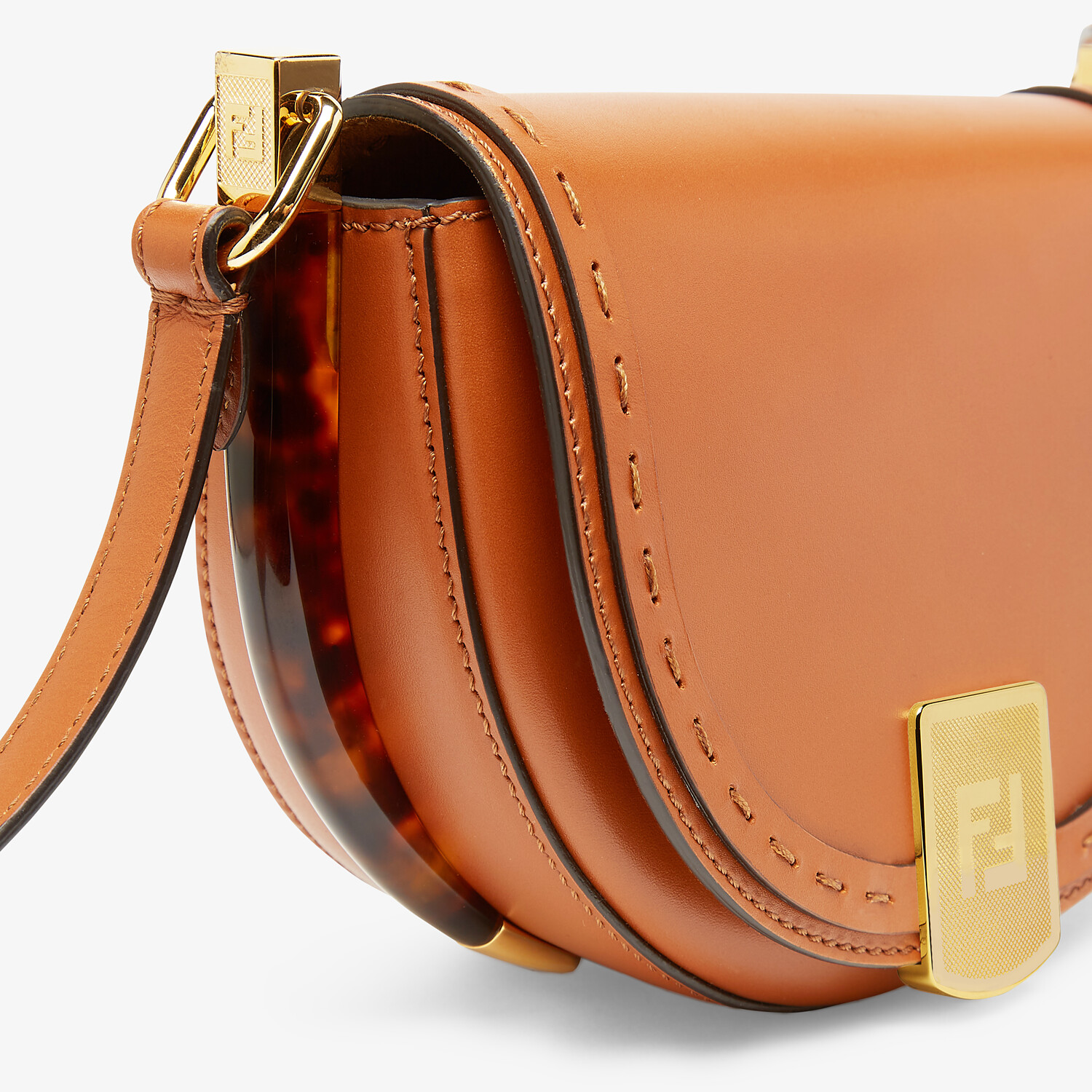 FENDI MOONLIGHT - Brown leather bag - view 6 detail