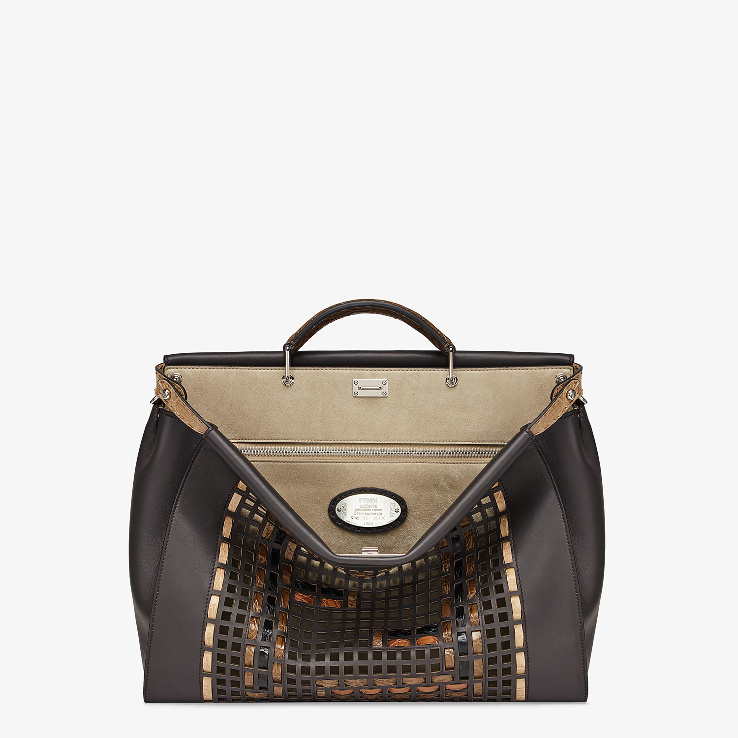 FENDI PEEKABOO ICONIC MEDIUM - Brown leather bag - view 1 detail