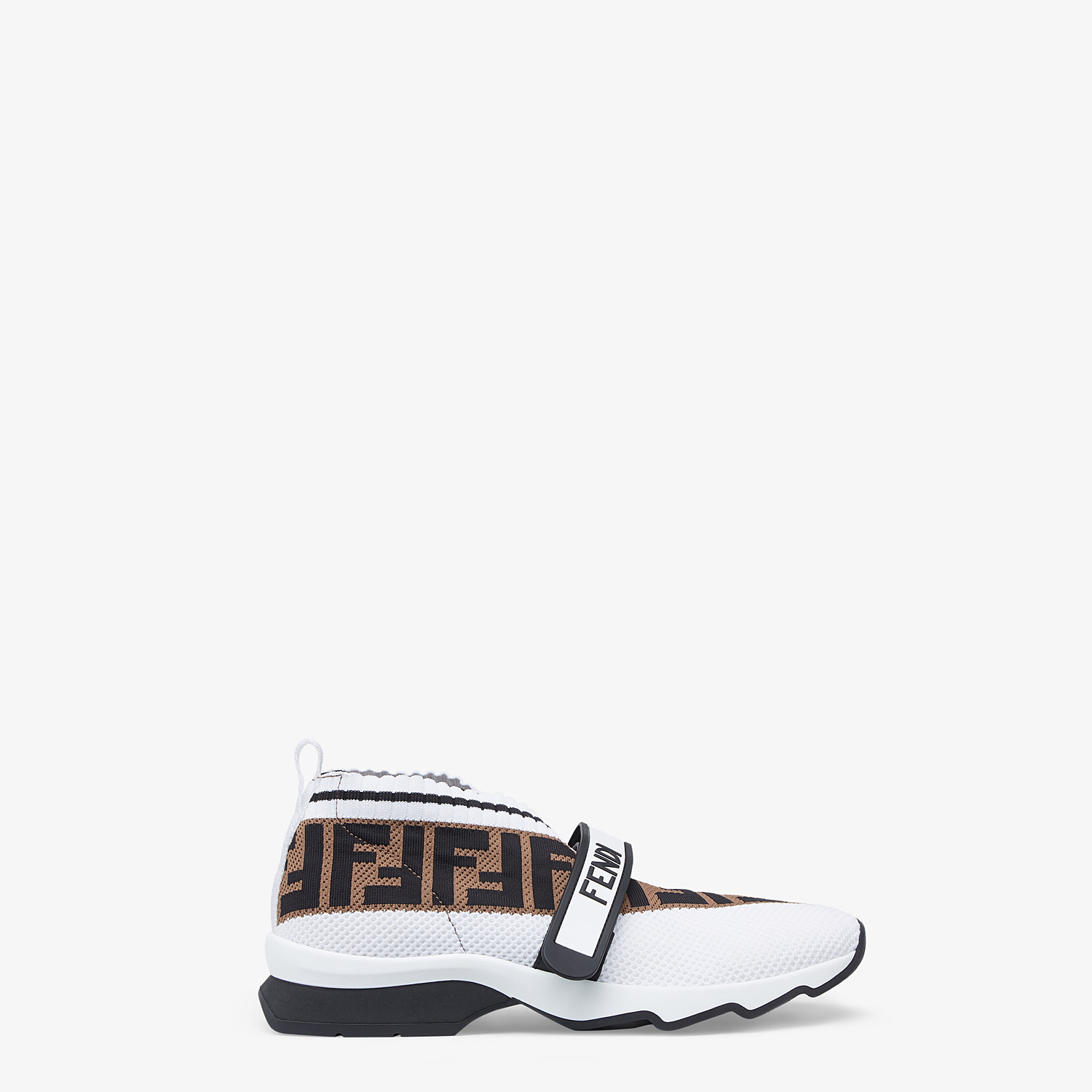 FENDI SNEAKERS - White fabric low-top sneakers - view 1 detail