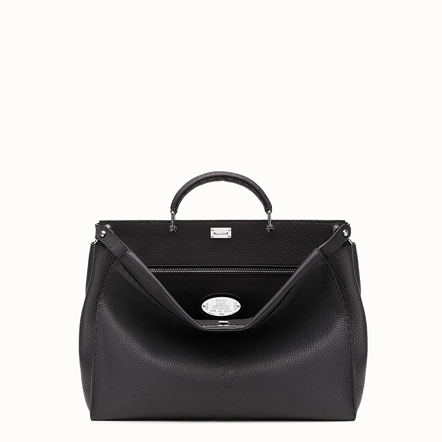 FENDI PEEKABOO - Small black Roman leather handbag - view 1 detail