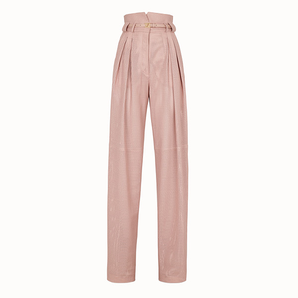 FENDI  - Pink leather trousers - view 1 small thumbnail