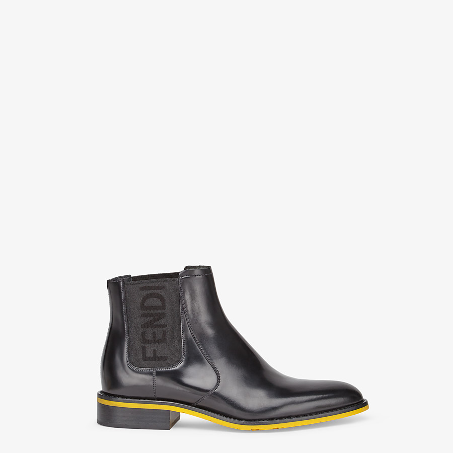 FENDI ANKLE BOOTS - Black leather Chelsea boots - view 1 detail