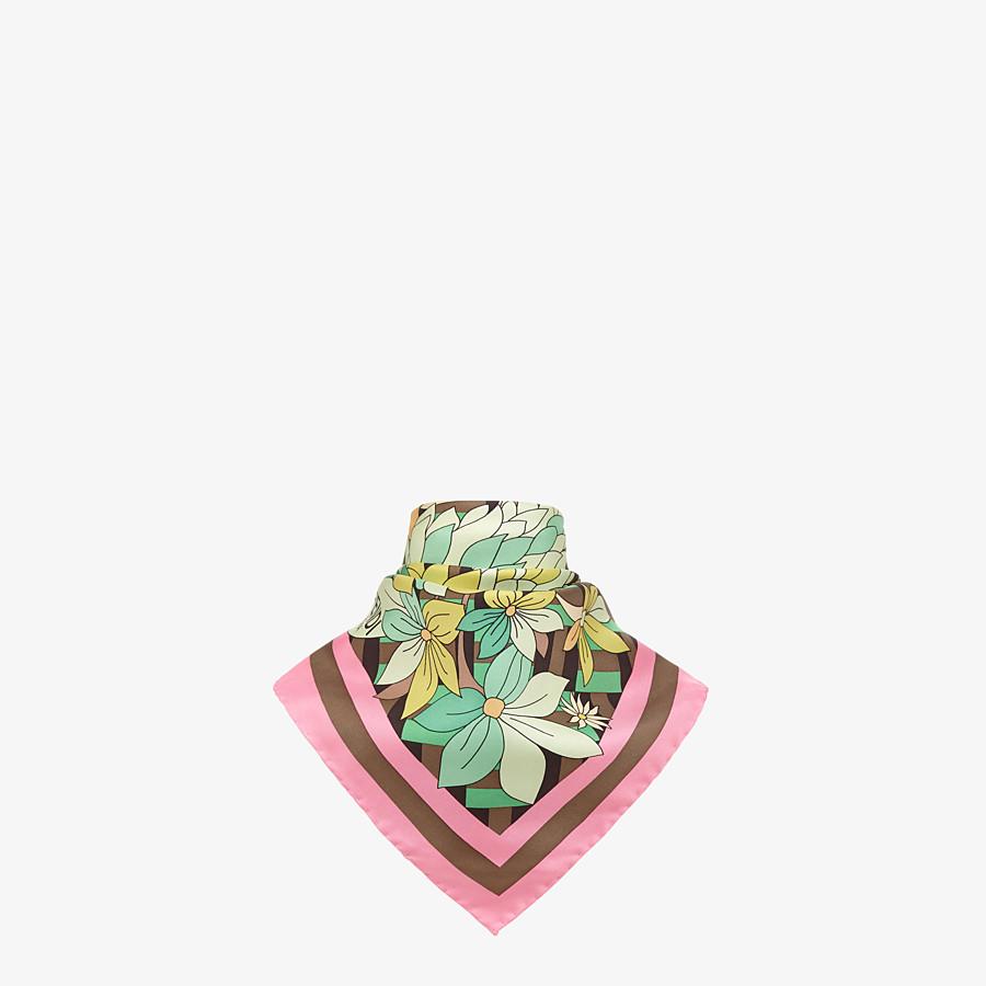FENDI FLOWERS FOULARD - Multicolor silk foulard - view 2 detail