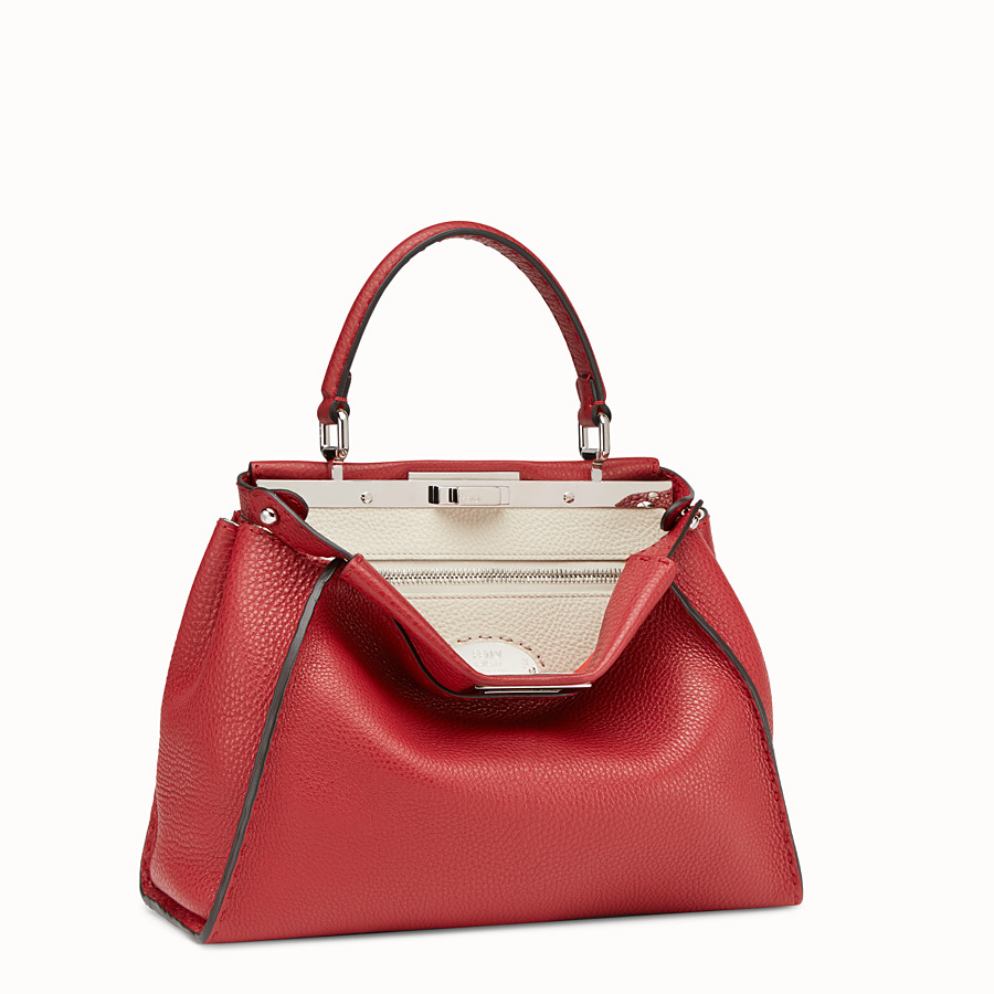 FENDI PEEKABOO ICONIC MEDIUM - Red leather bag - view 2 detail