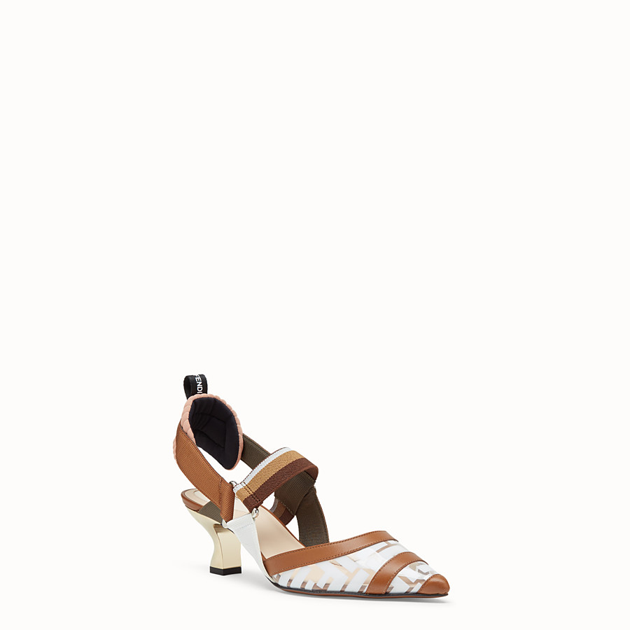 FENDI PUMPS - Slingbacks in PU and white leather - view 2 detail