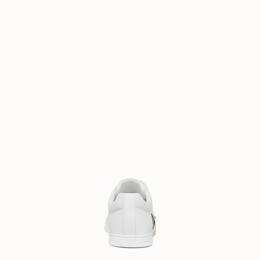FENDI SNEAKERS - Chaussures basses en cuir blanc - view 3 detail