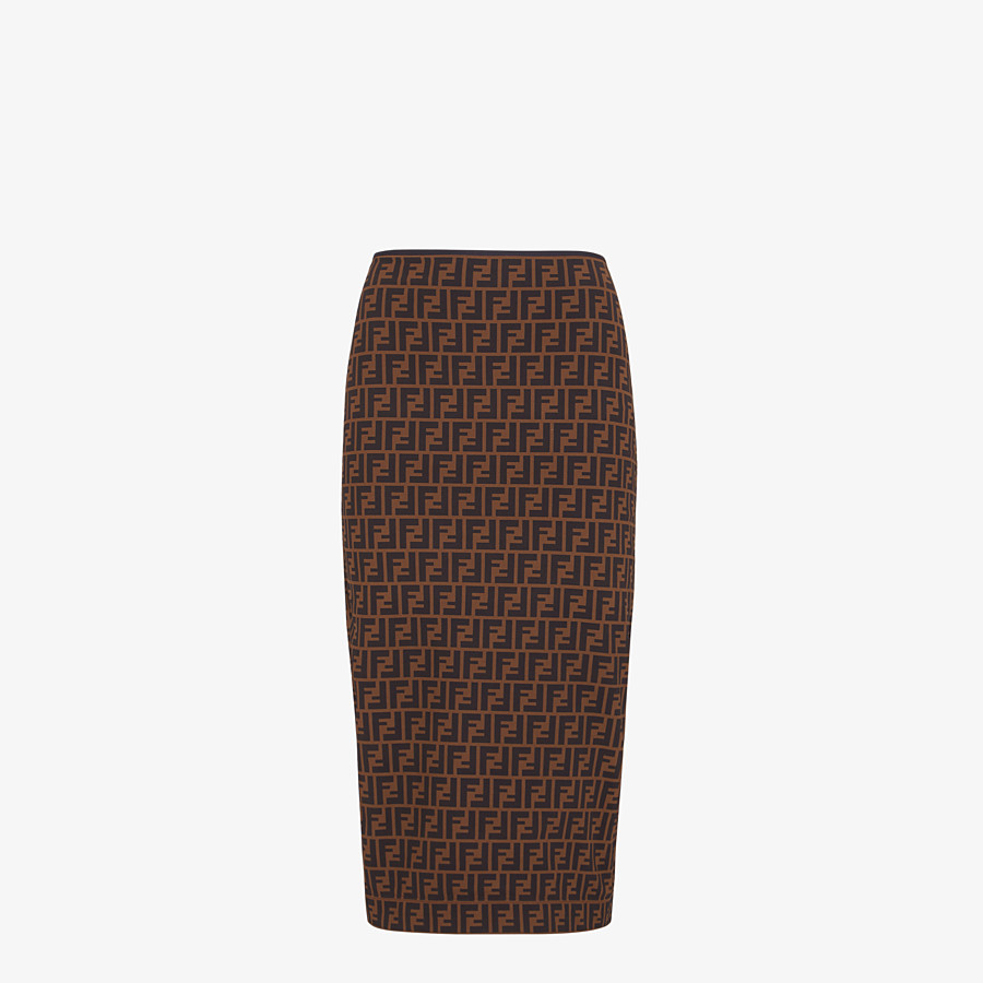 FENDI SKIRT - Brown micromesh skirt - view 1 detail