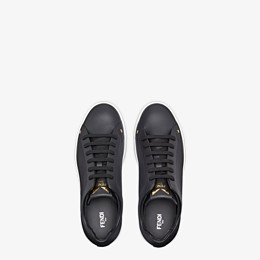 FENDI SNEAKERS - Black leather low-tops - view 4 thumbnail