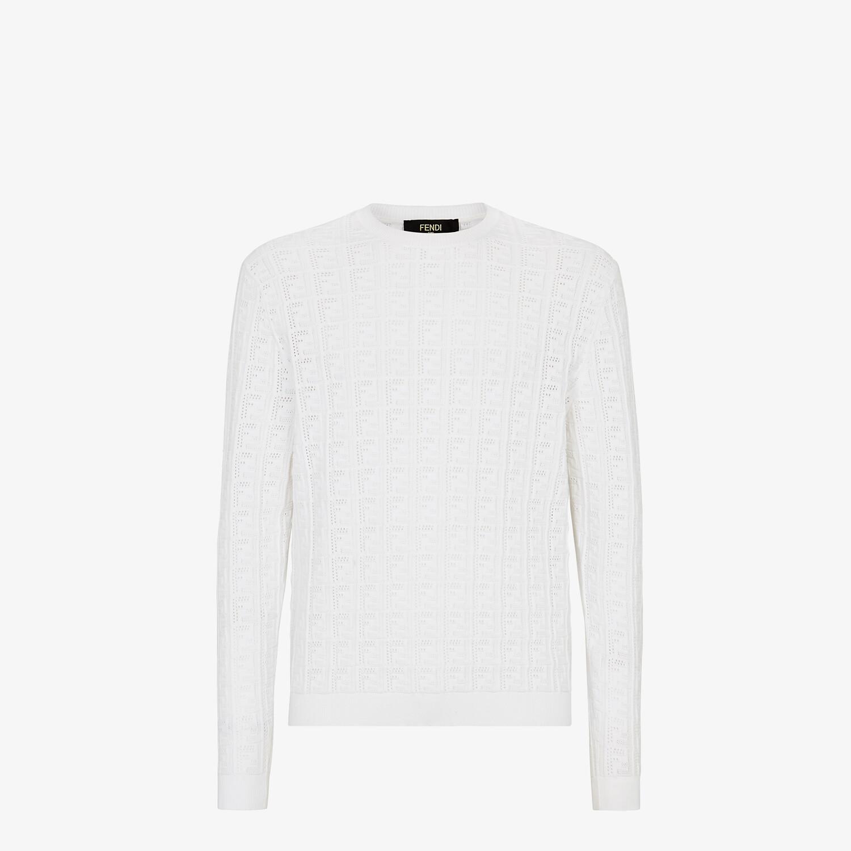 FENDI SWEATER - White cotton sweater - view 1 detail