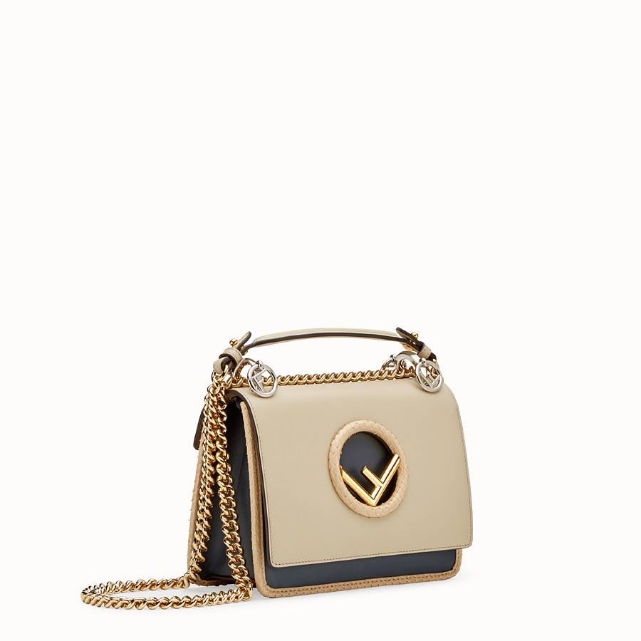 FENDI KAN I F SMALL - Beige leather mini-bag with exotic details - view 2 detail