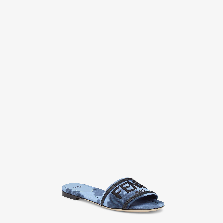 FENDI SIGNATURE SLIDES - Light blue canvas slides - view 2 detail
