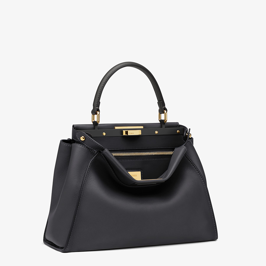 FENDI PEEKABOO ICONIC MEDIUM - handbag in black leather - view 3 detail