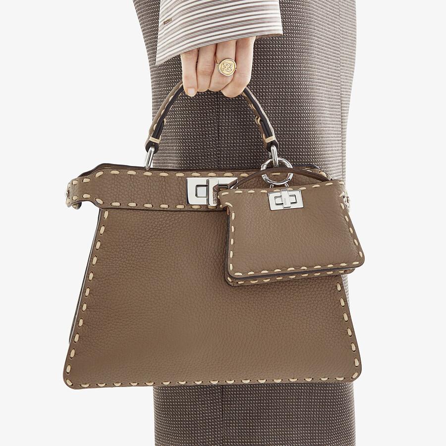 FENDI PEEKABOO ISEEU SMALL - Gray full grain leather bag - view 2 detail