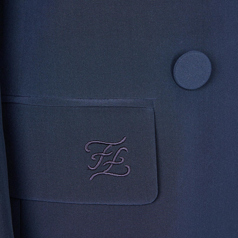 FENDI GIACCA - Giacca in crêpe de Chine blu - vista 3 dettaglio