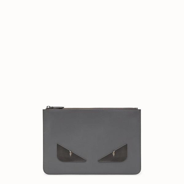 FENDI POUCH - Gray leather slim pouch - view 1 small thumbnail