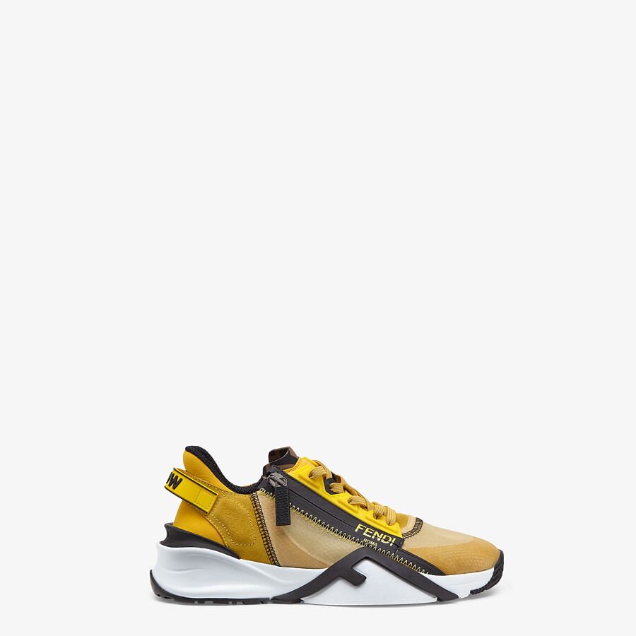 FENDI FENDI FLOW - Low-tops in yellow nylon and suede - view 1 detail