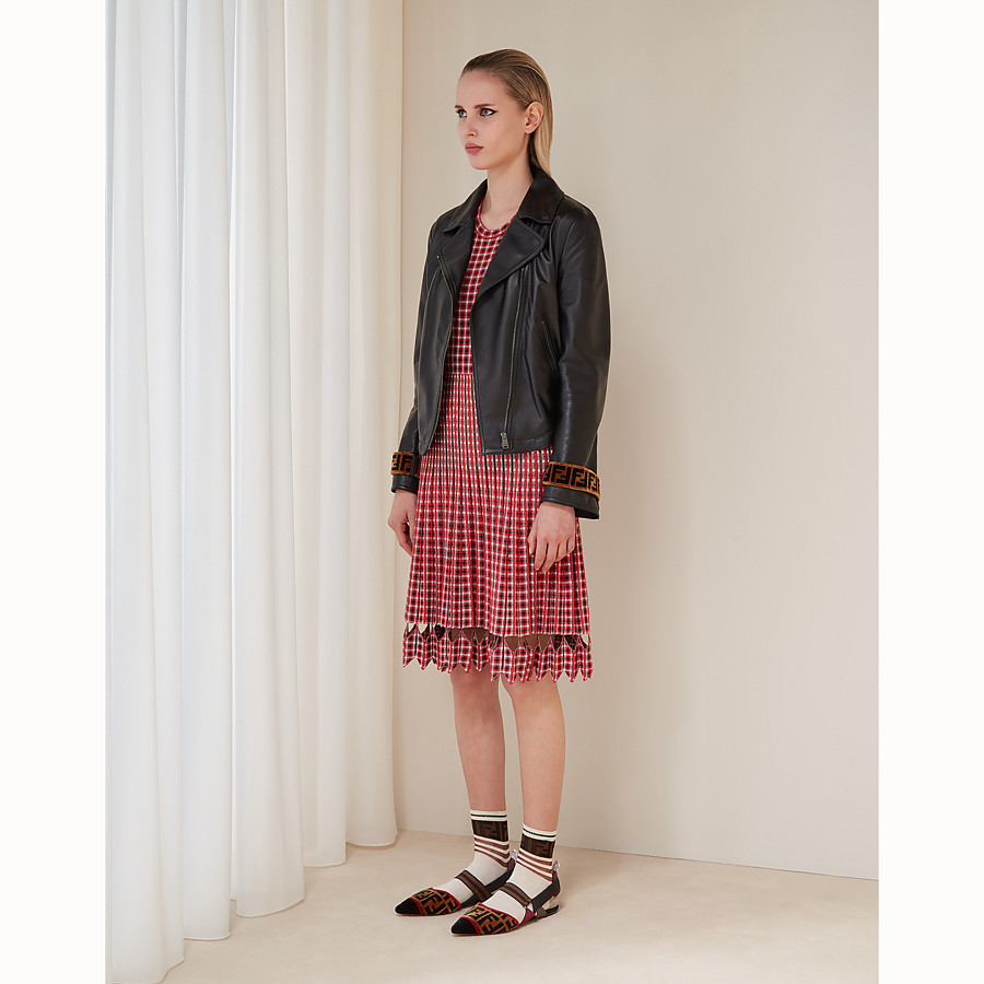 FENDI DRESS - Red checked fabric dress - view 4 detail
