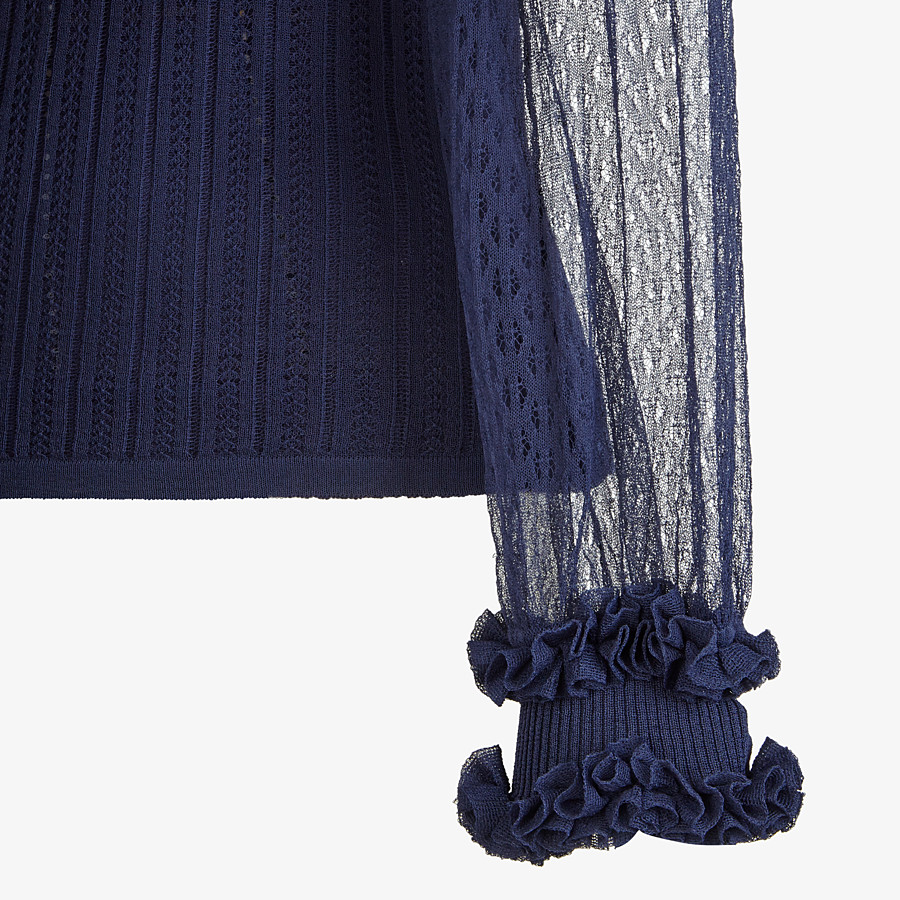 FENDI PULLOVER - Blue lace jumper - view 3 detail