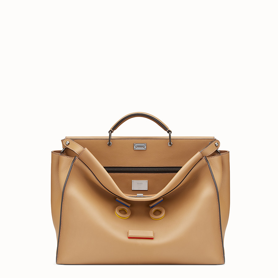 FENDI PEEKABOO - Sand-coloured leather bag - view 1 detail