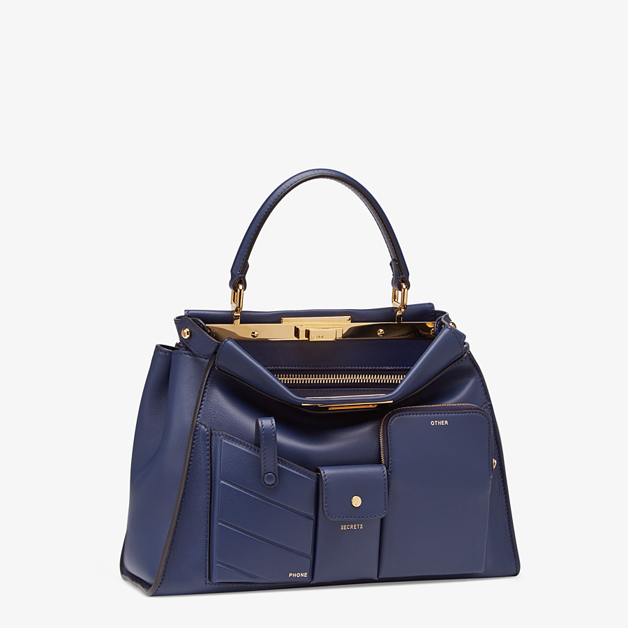 FENDI PEEKABOO ICONIC MEDIUM - Blue leather bag - view 3 detail