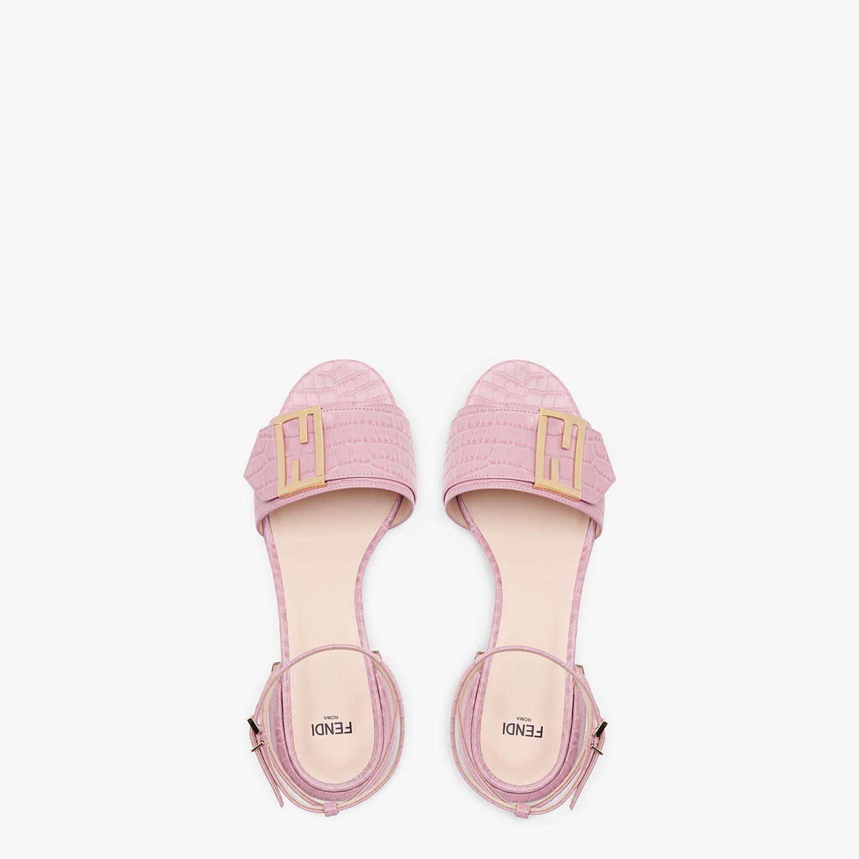 FENDI SANDALS - Pink leather Promenade Sandals - view 4 detail
