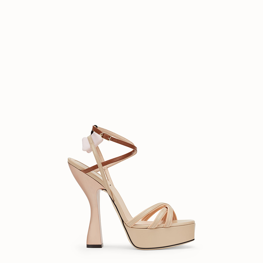 FENDI SANDALS - Beige leather sandals - view 1 detail