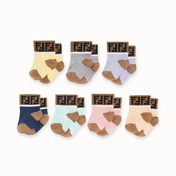 FENDI 7 PAIRS OF SOCKS - 7 pairs of multicolour cotton baby girl socks - view 1 small thumbnail