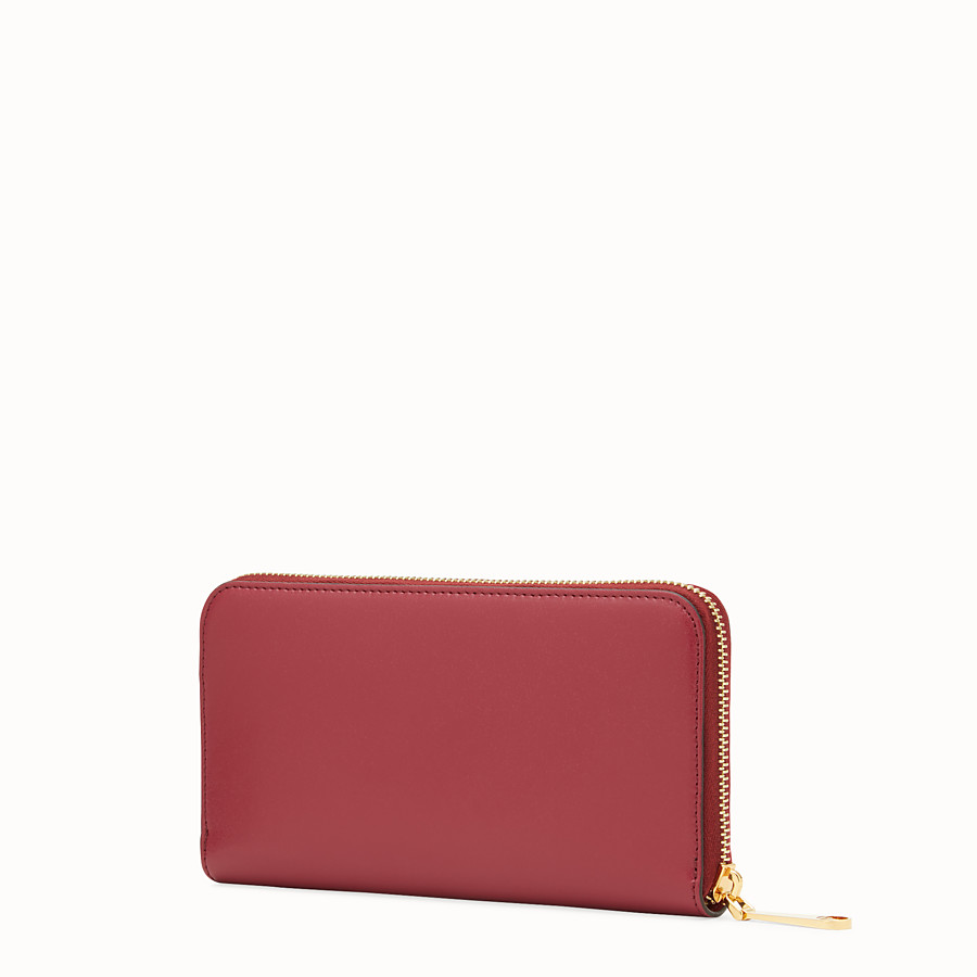 FENDI ZIP-AROUND - Red leather wallet - view 2 detail