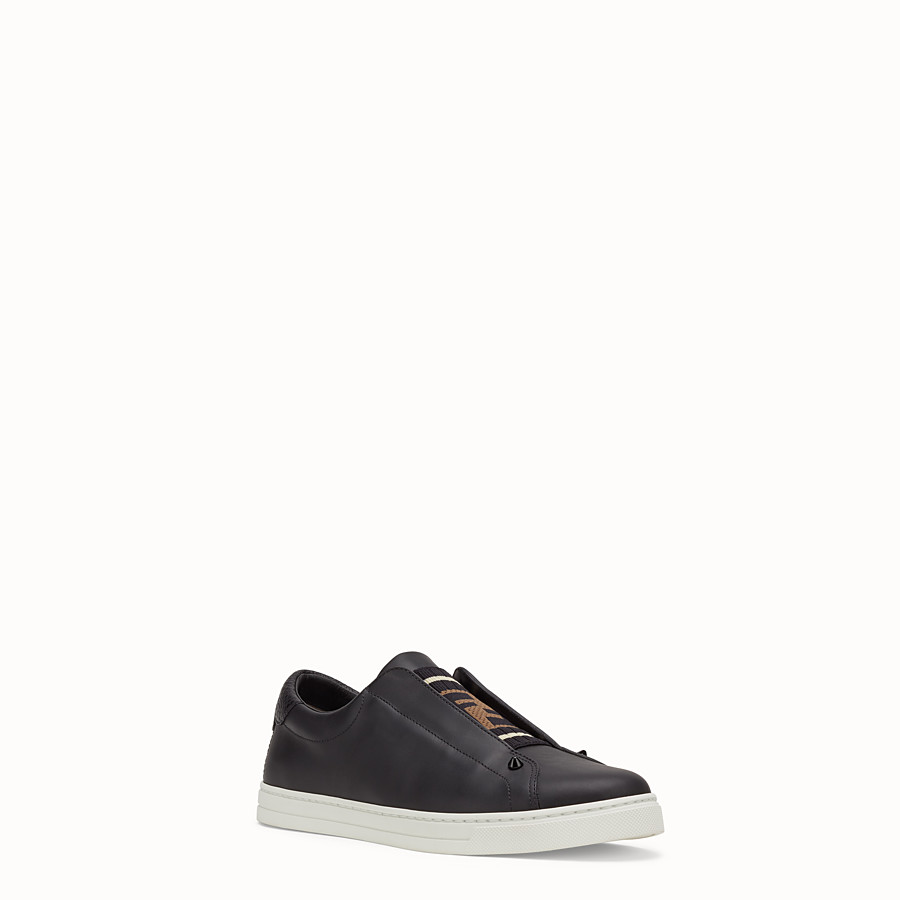 FENDI SNEAKERS - Black leather slip-ons - view 2 detail
