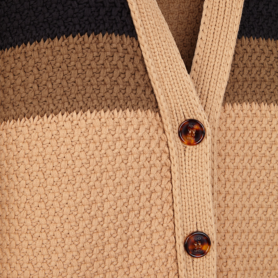 FENDI CARDIGAN - Beige cotton cardigan - view 3 detail
