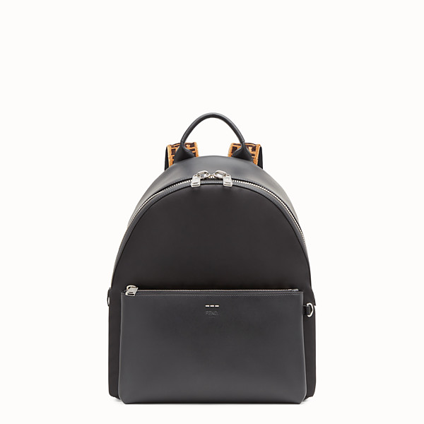 FENDI BACKPACK - Fabric and black leather backpack - view 1 small thumbnail
