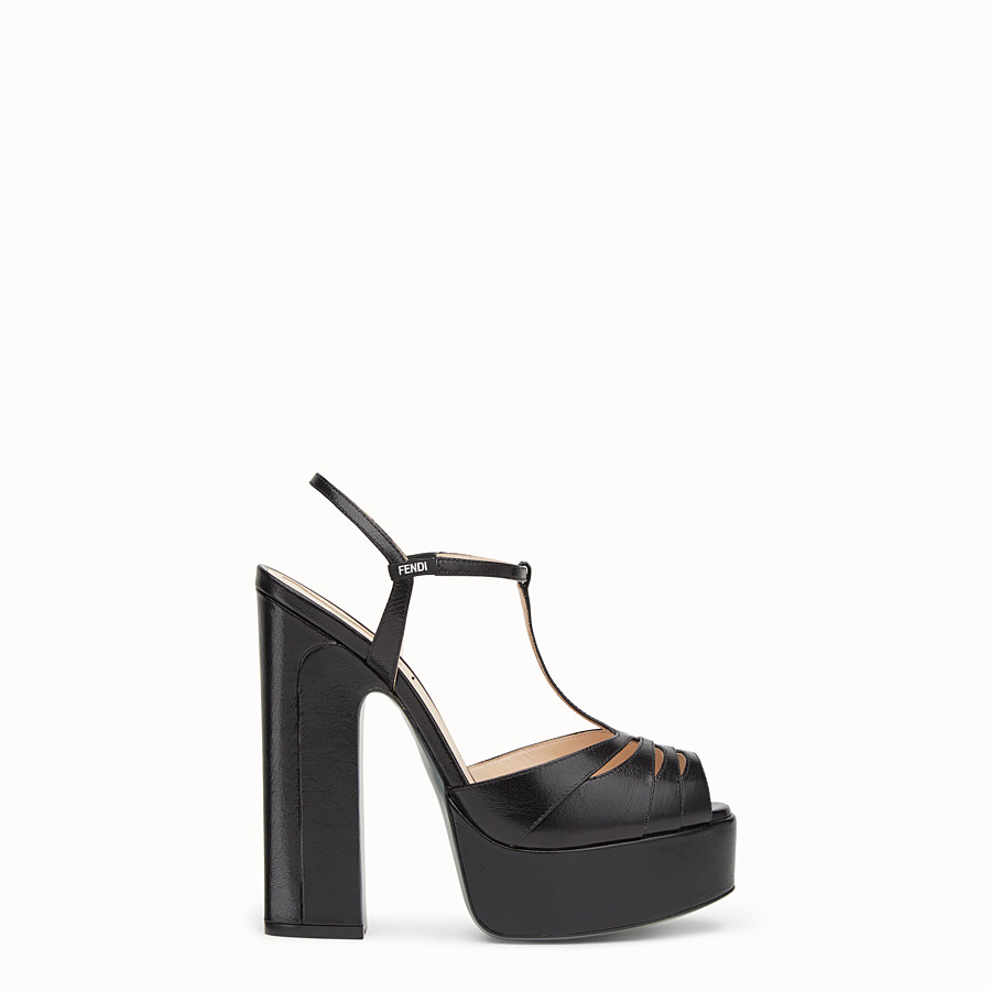 FENDI SANDALS - High-heeled sandals in black leather - view 1 detail