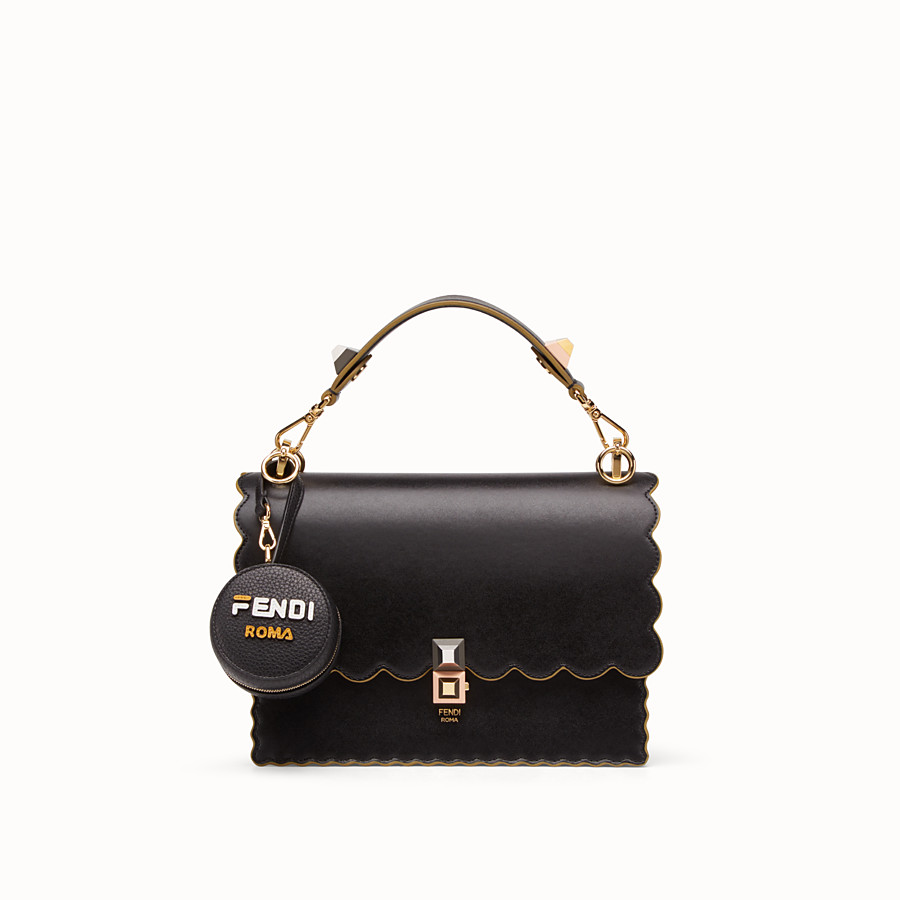 FENDI BACKPACK CHARM - Black leather charm with fabric backpack - view 3 detail