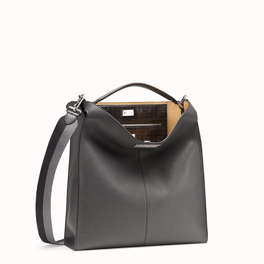 FENDI PEEKABOO X-LITE FIT - Tasche aus Leder in Grau - view 3 detail