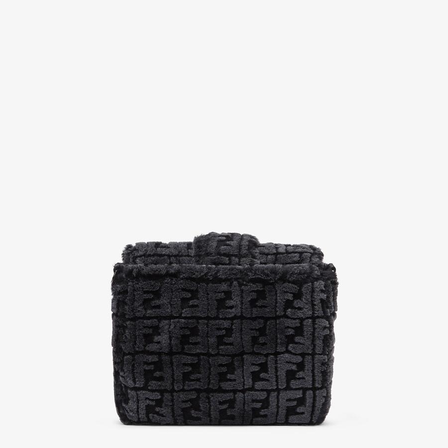 FENDI BAGUETTE MESSENGER BAG MEDIUM - Black and gray shearling bag - view 3 detail
