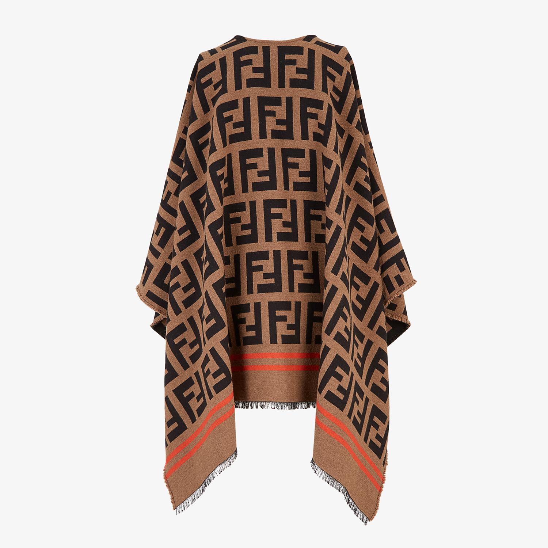 FENDI FF PONCHO - Multicolor wool and silk poncho - view 2 detail