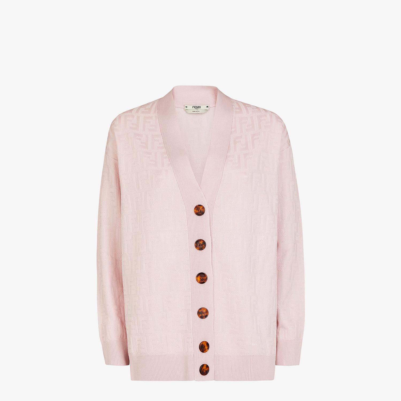 FENDI CARDIGAN - Pink viscose and cotton cardigan - view 1 detail