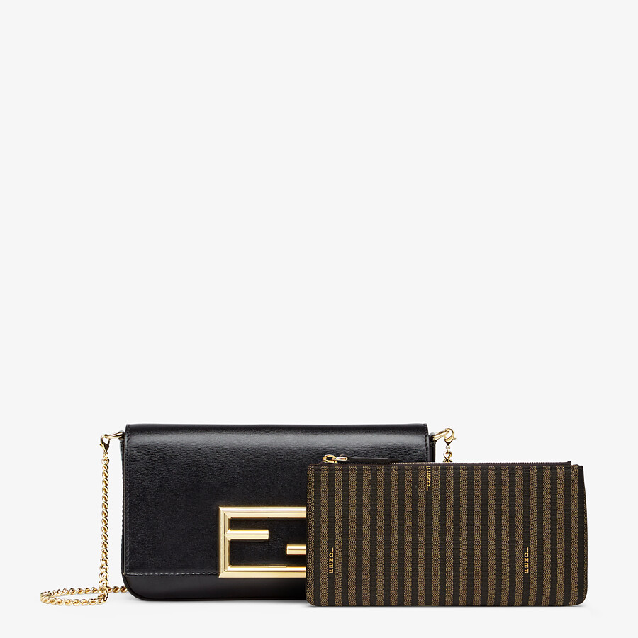FENDI WALLET ON CHAIN WITH POUCHES - Black leather mini-bag - view 3 detail