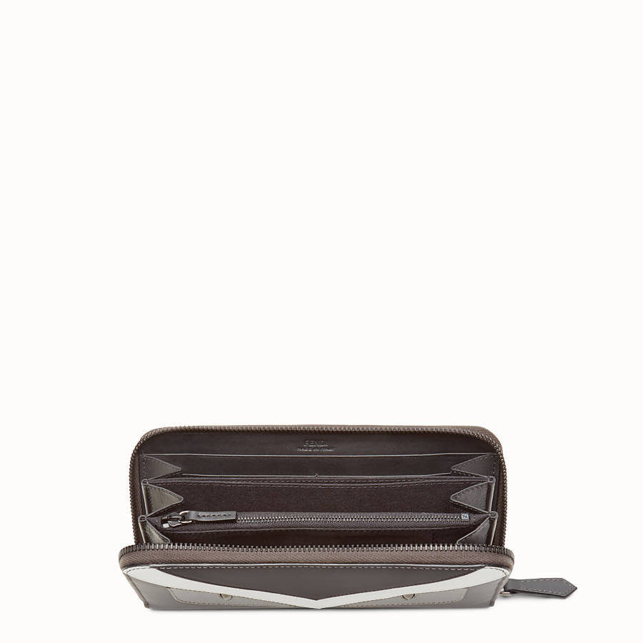 FENDI ZIP AROUND - Zip-around wallet in grey leather with insert - view 3 detail