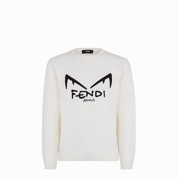 FENDI SWEATER - White wool sweater - view 1 small thumbnail