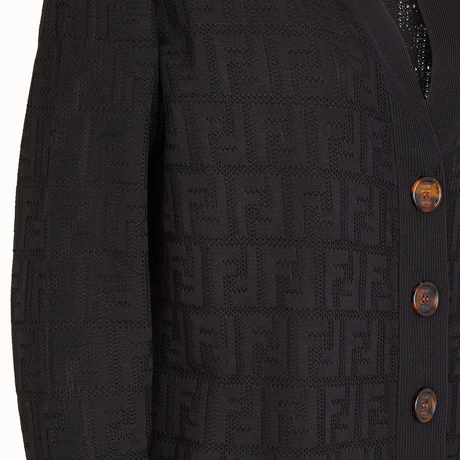 FENDI CARDIGAN - Black viscose and cotton cardigan - view 3 detail