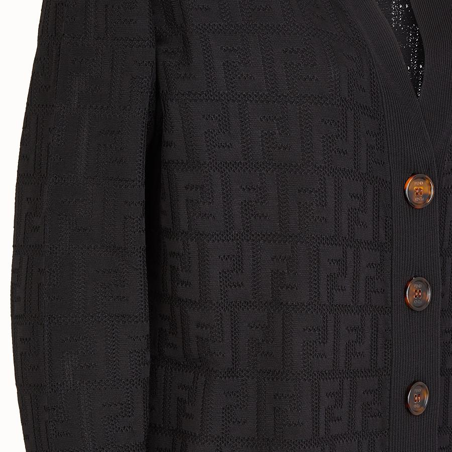 FENDI CARDIGAN - Cardigan in viscosa e cotone nero - vista 3 dettaglio