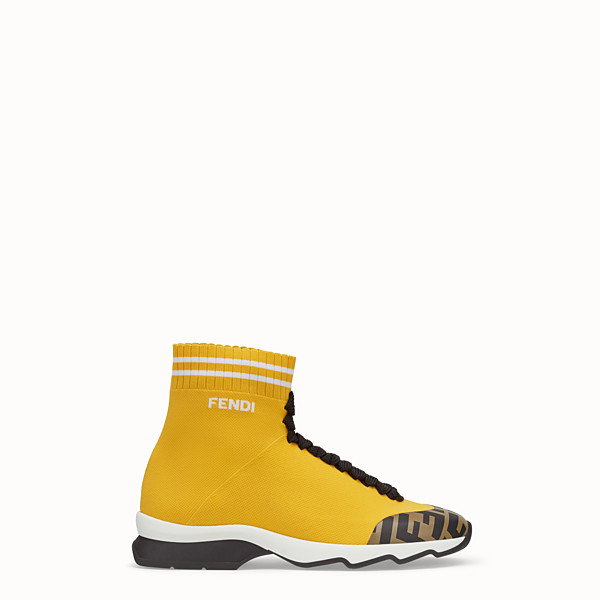 FENDI SNEAKERS - Yellow fabric sneaker boots - view 1 small thumbnail