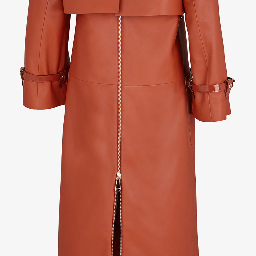 FENDI TRENCH COAT - Brown leather trench coat - view 3 detail