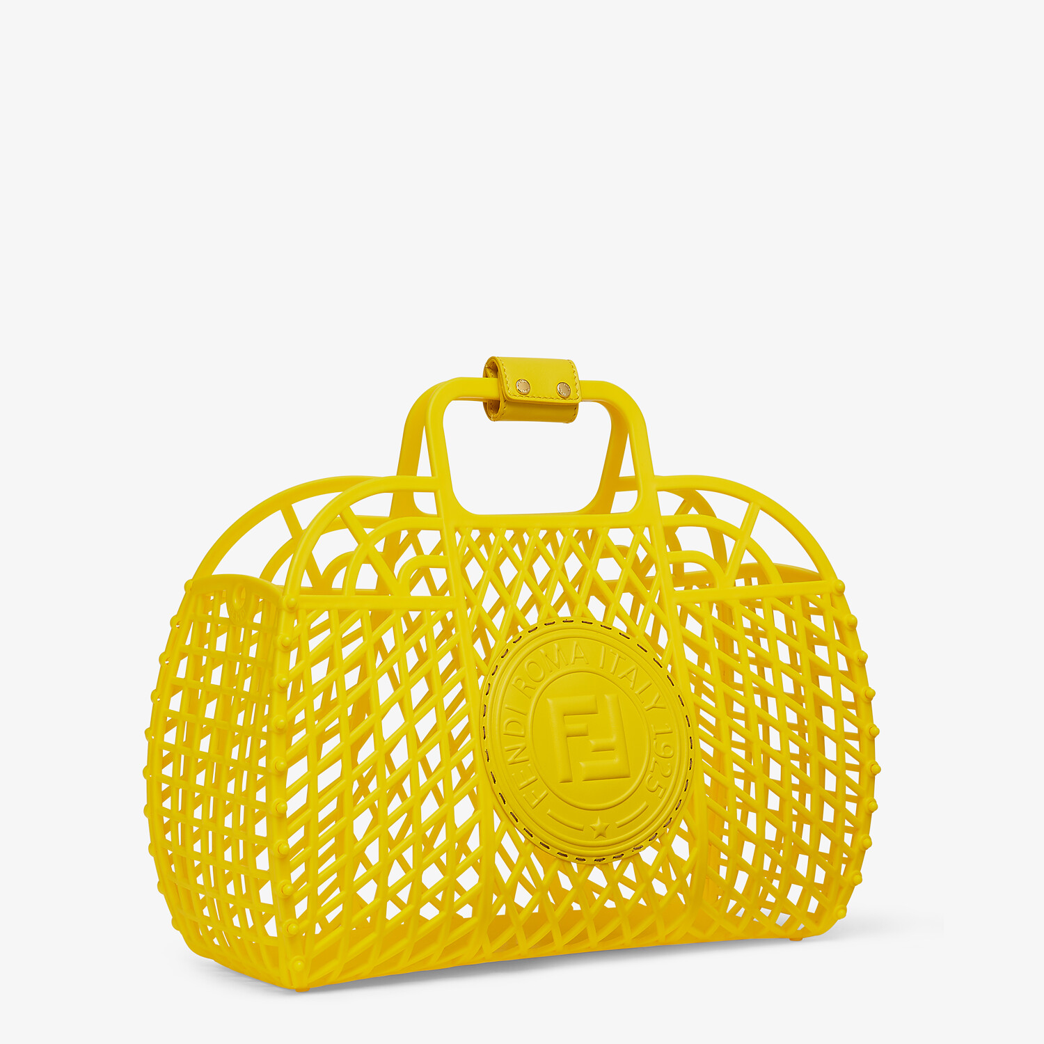 FENDI FENDI BASKET MEDIUM - Yellow recycled plastic mini-bag - view 3 detail