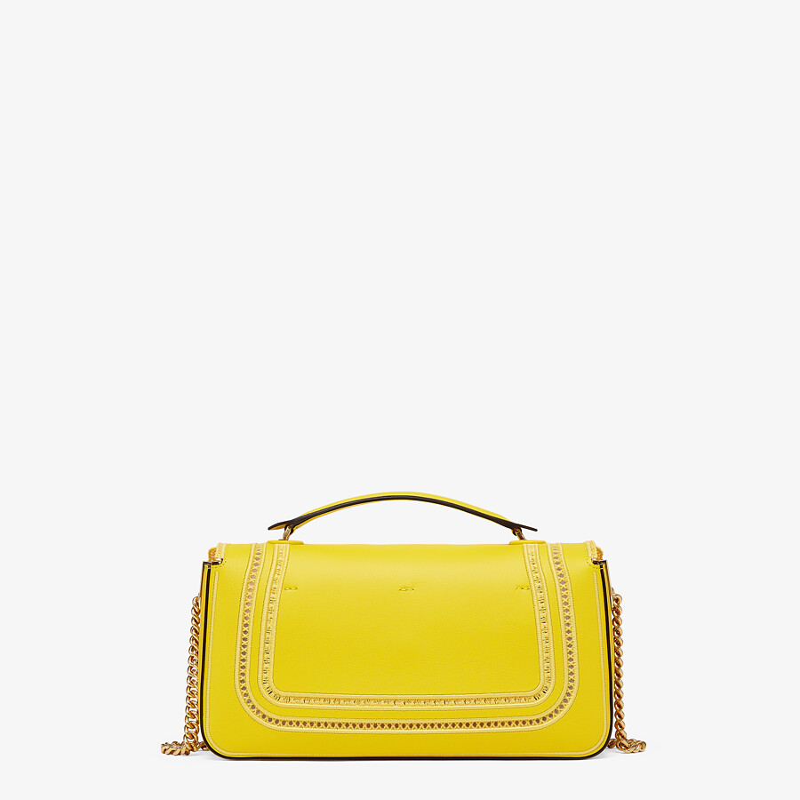 FENDI BAGUETTE CHAIN - Embroidered yellow leather bag - view 3 detail
