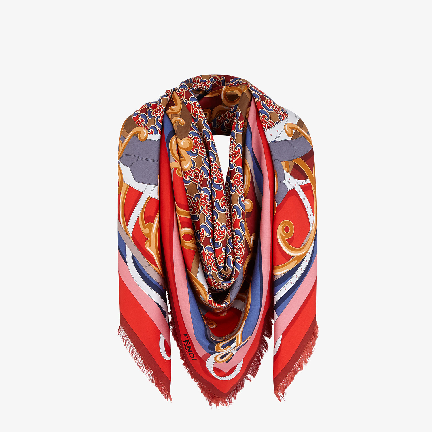 FENDI GRILLE ROYALE SHAWL - Red cashmere and silk shawl - view 2 detail