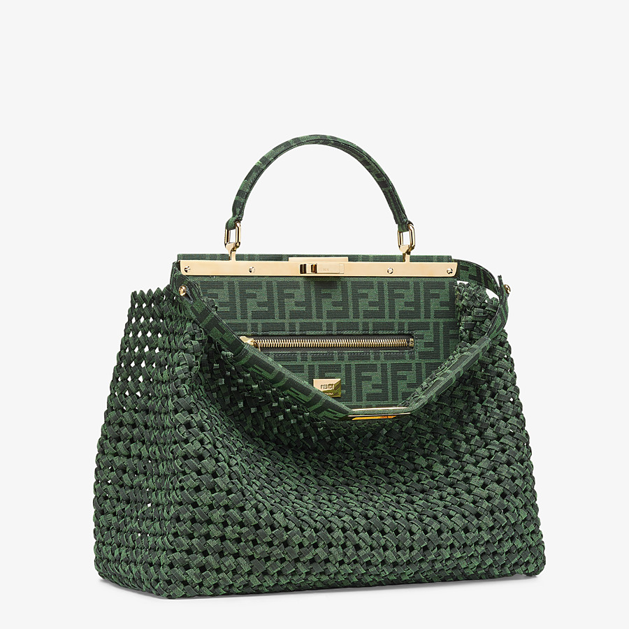 FENDI PEEKABOO ICONIC LARGE - Jacquard fabric interlace bag - view 3 detail